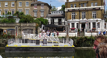 St Helena Pier is by Richmond Bridge, outside the White Cross pub. Turk Launches have exclusive use of this private pier which is close to the town centre, hotels and wedding venues. Richmond station is a 5 – 10 minute walk with access to the District line and overground. There are ample car parks in the town and bus services.